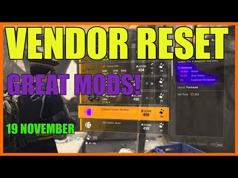 The Division 2 | Weekly Vendor Reset | 19 November | Must Buy Mods!!