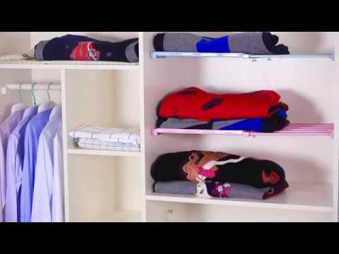 Adjustable Closet Organizer Wardrobe Storage Layered Nail Free Separator Storage Shelf Rack