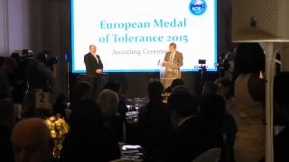 Howard Holmes (FARE) about Marcin Kornak, European Medal of Tolerance ceremony, London, 9.03.2015.