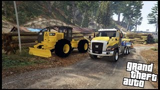 GTA REAL LIFE RP - PULLING MASSIVE LOGS WITH OUR CAT SKIDDER - EP.6