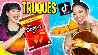 TESTANDO TRUQUES DE COMIDA DO TIK TOK!! FOOD HACKS | Blog das irmãs