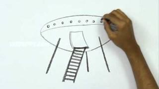 Смотреть онлайн Как нарисовать космический корабль поэтапно