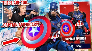 I got 100 CAPTAIN AMERICA SKINS to scrim for $100 in Fortnite... (best superhero skin)