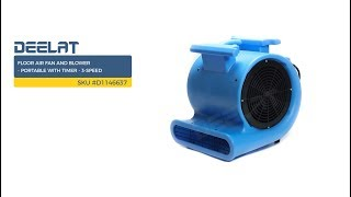 Floor Air Fan and Blower - Portable with Timer - 3-Speed     SKU #D1146637