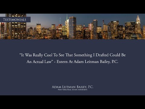 """""""It was really cool to see that something I drafted could be an actual law."""" – Adam Leitman Bailey, P.C. Externship Testimonial testimonial video thumbnail"""