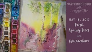 Live watercolour lesson: Spring Trees with Angela Fehr