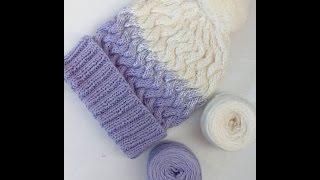 Мк шапки спицами плетенка