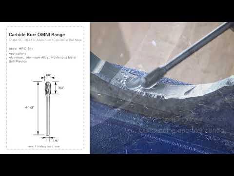 FindBuyTool Carbide Burr SC-3NFL4 Cylinderical Ball Nose ALUMIN Range Head D 3/8 x 3/4L, 1/4 Shank, 4-1/3 Inch Full Length