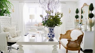 French Decor Office Tour 2020 Luxury Home Office Decorating Ideas Glam Office Decor Room Makeover