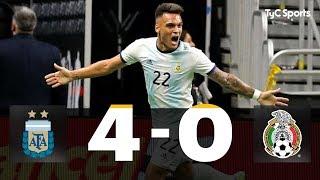 La Selección Argentina goleó a México en San Antonio por 4-0, en un amistoso internacional. Show de Lautaro Martínez, que marcó un triplete, y otro tanto de Leandro Paredes, de penal.