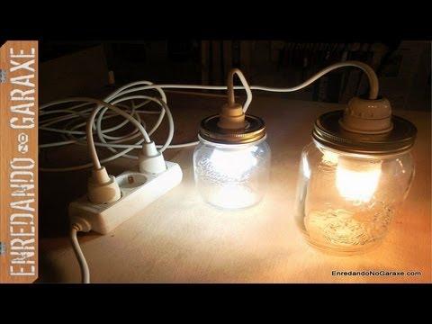 Cómo hacer una lámpara con tarros de cristal. Marmelade jar lamp