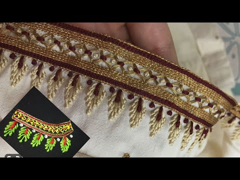 Blouse Design With Zigzag & Long French Knots Stitch |Aari Maggam Works |#27