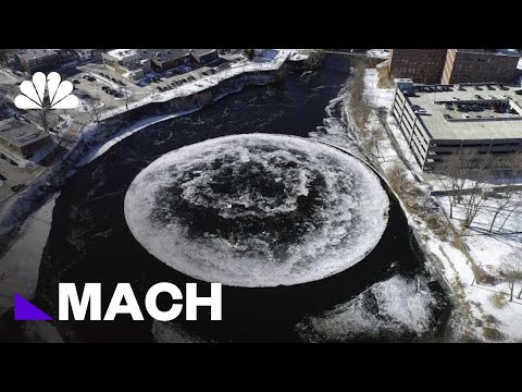 Watch This Huge Floating Ice Disk Found Rotating In Maine River | Mach | NBC News