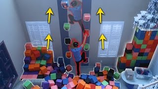 INDOOR ROCK CLIMBING MADE OUT OF THE FOAM PIT!! (DANGEROUS)