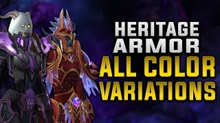 Allied Race Heritage Armor Sets with ALL Color Variations | NEW Void Elf Weapons!