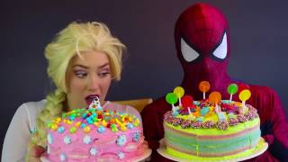 Frozen Elsa BAKES A CAKE 🎂 W Spiderman Decorating Bakery Challenge Fun Superhero In Real LIFE