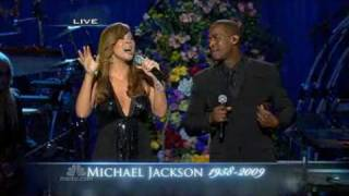 "Mariah Carey and Trey Lorenz sing "" I'll be there "" at the memorial service for Michael Jackson"