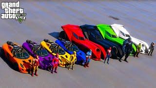 SpiderMan and Superheroes Cars Batmobile GTAV !Человек Паук и супер герои и Бэтмобили Супер Челендж!