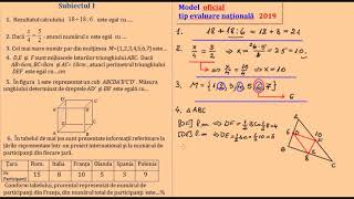 Model Oficial Evaluare Nationala 2019, Matematica
