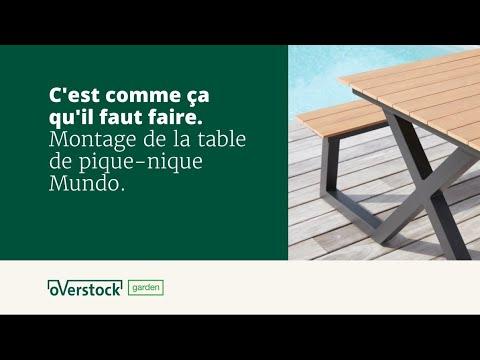 Table de pique-nique Mundo noir-naturel - aluminium avec plateau de table en polywood - L 200  x l 173 cm
