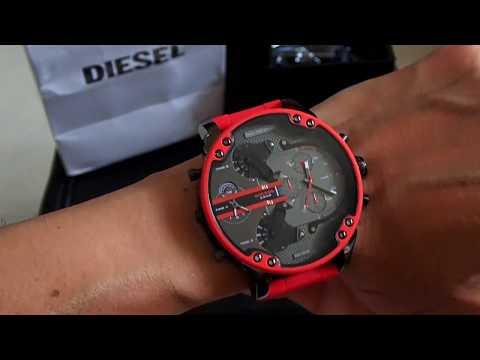 DIESEL DZ7370 Mr. Daddy 2.0 Silicone Stainless Steel Red Watch