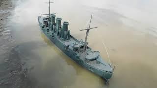 Бронепалубный крейсер ДИАНА заплыв в болото и мощное  потопление