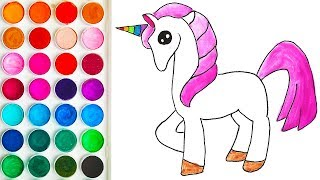 Drawing for Kids with Unicorn Pony, Beautiful Coloring Pages for Baby