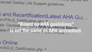 Don't be fooled by Non AHA Imitations CPR, BLS, ACLS, PALS