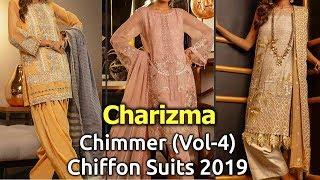 Latest CHARIZMA (CHIMMER VOL-4) Pakistani Chiffon Dresses 2019   Designer Chiffon Dress