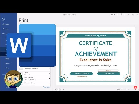 Creating a Certificate in Microsoft Word - YouTube