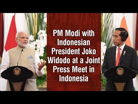 PM Modi with Indonesian President Joko Widodo at a Joint Press Meet in Indonesia