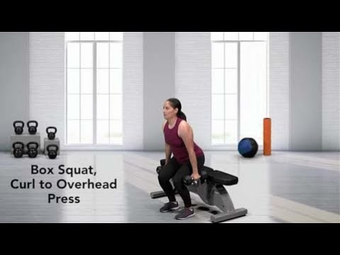 Dumbbell Box Squat, Curl to Overhead Press