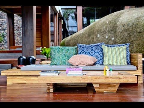 Sofa feito em Teca Maciça para Ilha do Japão. Projeto e execução Marcos Pacheco/Designzero5