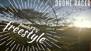 Drone Racer FPV Freestyle voando entre as árvores antes da quarentena