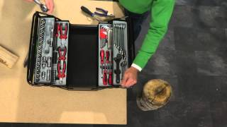 AGT Werkzeugkasten, 5 Fächer, inklusive 71-teiligem Werkzeugsortiment