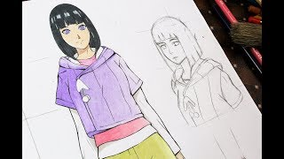 ☆HOW TO DRAW Anime Girl  (Hinata Hyuga) Full Body Tutorial