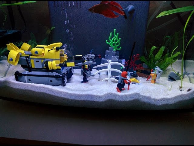 Betta fish tank with Lego set decorations