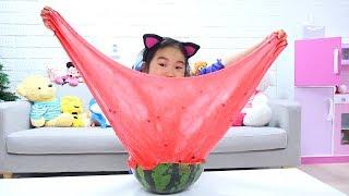 초거대 수박 슬라임 만들기 놀이 !! 액체괴물 액괴 만들기 Kids made Watermelon slime Fun video for children