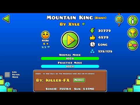 [GD] MOUNTAIN KING BY XYLE (DAILY LEVEL) | GEOMETRY DASH 2.13