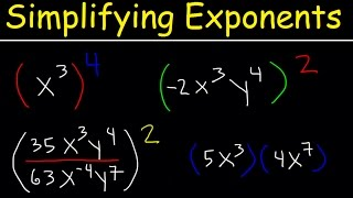 Simplifying Exponents With Fractions, Variables, Negative Exponents, Multiplication & Division, Math