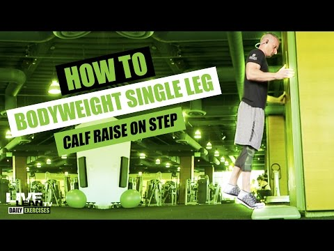 How To Do A BODYWEIGHT SINGLE LEG STANDING CALF RAISE ON STEP | Exercise Demonstration Video