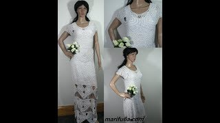 How to crochet wedding dress with hearts free pattern tutorial by marifu6a