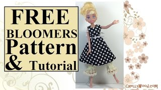Free Doll Clothes Patterns: Bloomers For Dolls Of Many Sizes