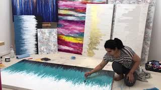 Making Of 10 Artworks, Gold Leaf Paintings, Modern Abstract Painting, Acrylic Painting On Canvas