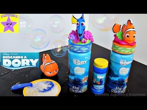 BUSCANDO A DORY  Burbujas de NEMO y DORY Juguete de Baño marlyn Pompas de Jabón.