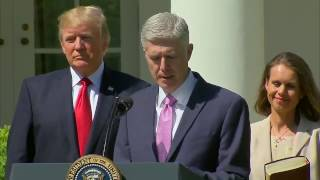 Judge Neil Gorsuch being sworn into Supreme Court by President Donald Trump
