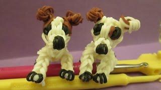 Rainbow Loom Jack Russell Dog or Puppy Charm. Wishbone. 3-D CAGNOLINO /CANE 3D Con Elastici