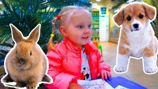 Николь в зоомагазине с собачкой и кроликом! Nicol in the pet store playing with a dog and a rabbit!