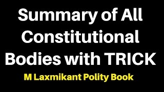 Summary of All Constitutional Bodies of India: MLaxmi polity : All Imp Points + TRICK
