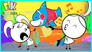 BABY SHARK SING ALONG - EK Doodles Kate Teaches Emma Baby Shark Dance Moves